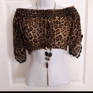 NEW SWEET COLOR leopard crop top size large